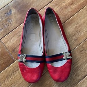 Gucci Bayadere Bee Leather Ballet Flats